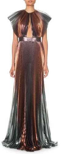 1f7e91b0cf Givenchy Metallic-Ombre Plisse Cutout Gown in 2019