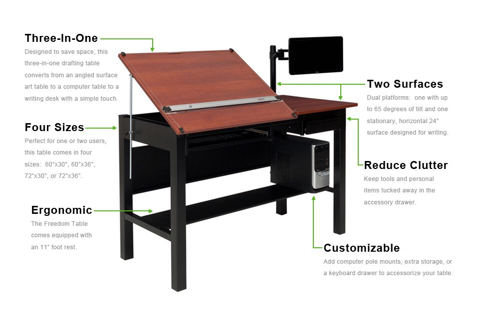 Perfect Freedom Drafting Table At 72u201dx36u201d (48u201d Tilting Surface And A 24