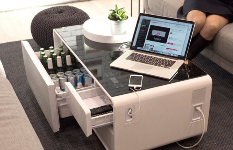 Refrigerator Coffee Table.This Smart Coffee Table Helps You Chill Your Gin Or Juice Future