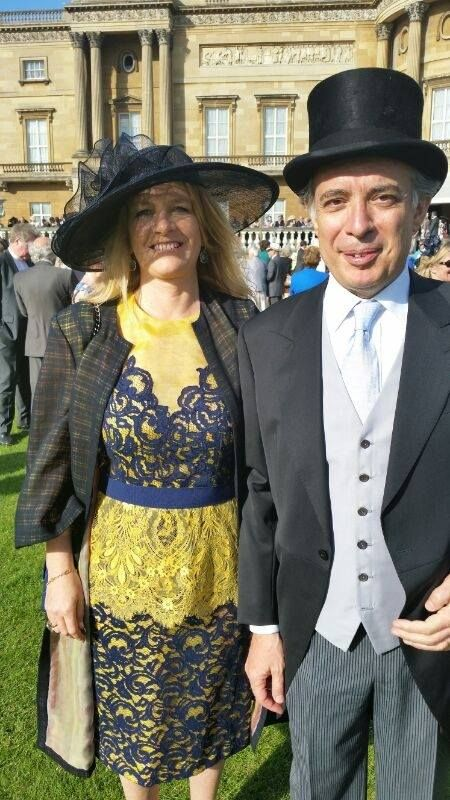 The Italian Ambassador in London Pasquale Terracciano and his wife Karen Lawrence Terracciano in Haute Couture outfits Michele Miglionico guest of Queen Elizabeth II at Buckingham Palace