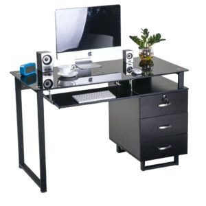 Exceptionnel Glass Top Computer Desk Office Depot