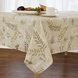 Boxed Fern Flannel Backed Vinyl Tablecloth Indoor Outdoor, 60 Inch By 84  Oval, Taupe