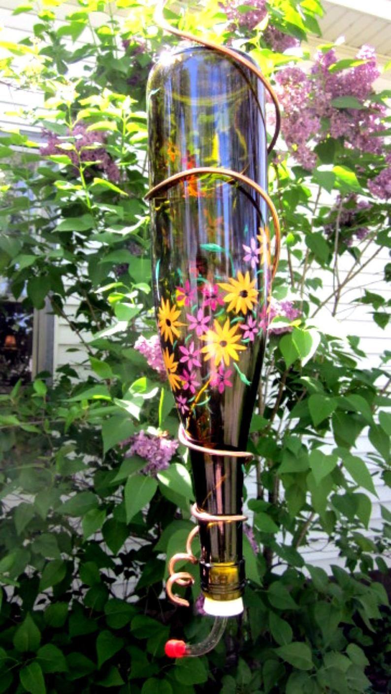 Recycled Wine Bottle Hummingbird Feeder Garden Ready in