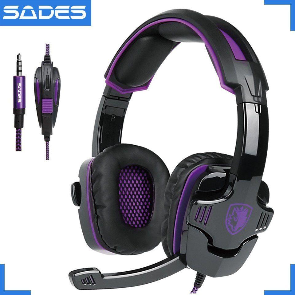 2b3b836f615 Sades sa-930 profesional ps4 auriculares 3.5mm auriculares para juegos con 1  a 2 cable para ordenador y Móviles