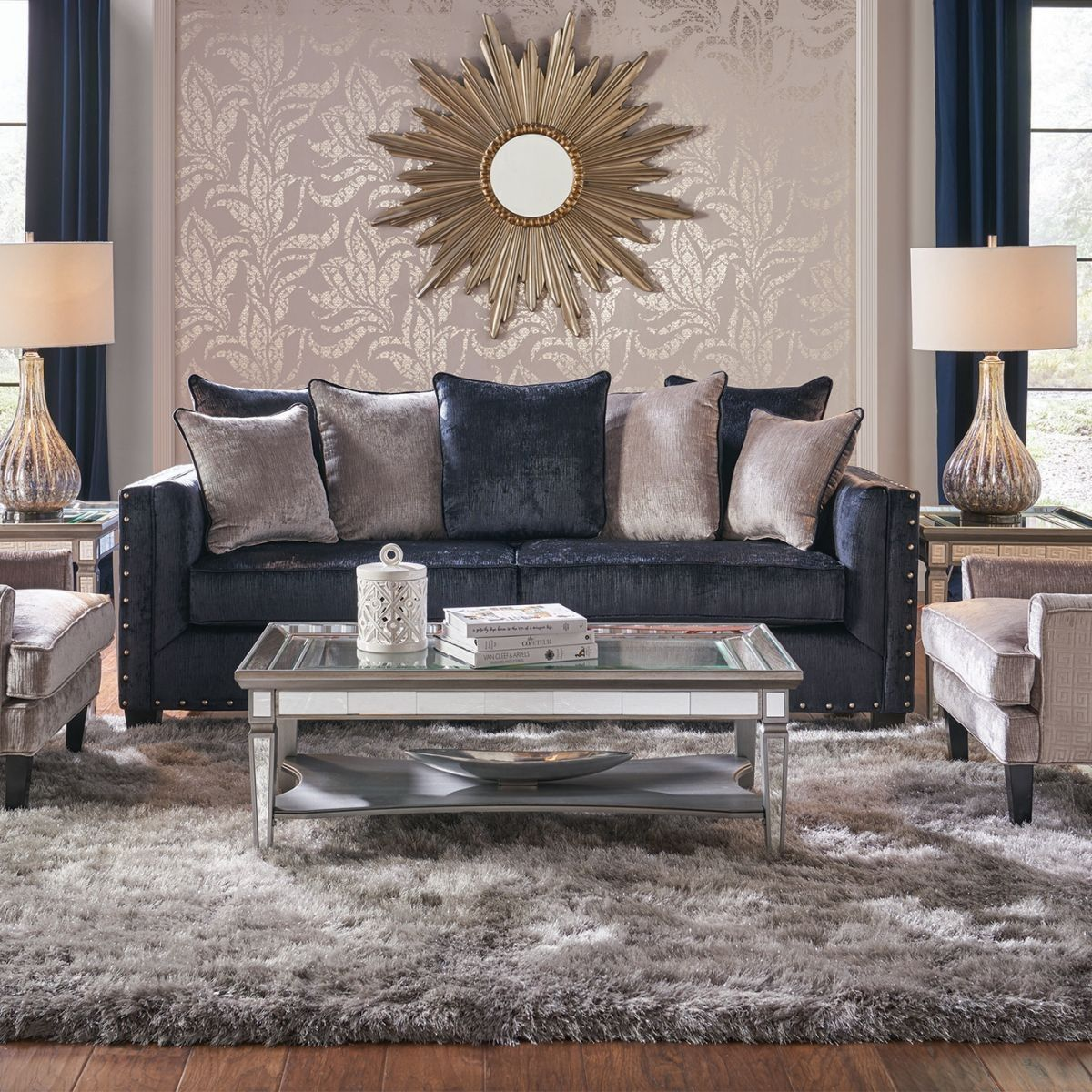 Midnight Bliss Blue Sofa & Loveseat | Living room decor ...