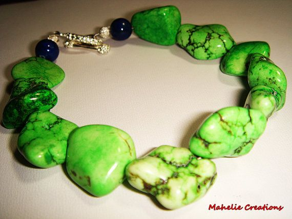 Green turquoise bracelet green howlite nuggets by MahelieCreations, $15.00