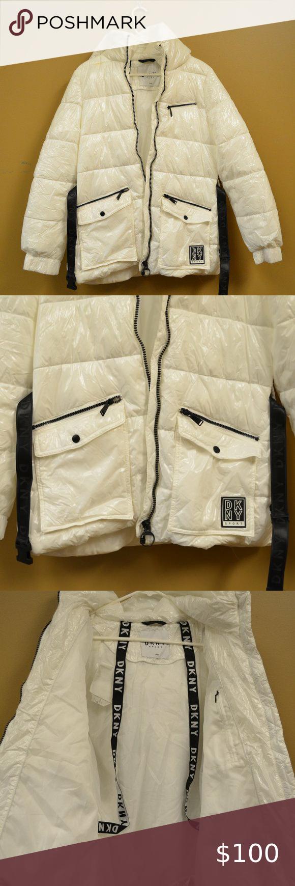 Hp Dkny Belted Hooded Puffer Jacket White Coats Jackets Women Yellow Long Sleeve Shirt Women S Puffer Coats [ 1740 x 580 Pixel ]