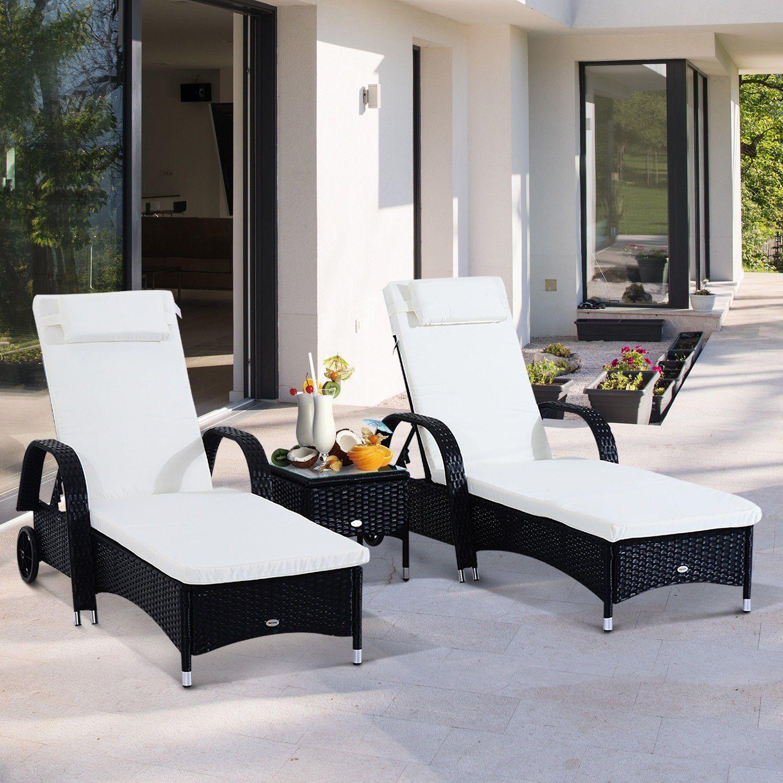 Elegant Amazon.de: Outsunny® Sonnenliege Gartenliege Tisch 3er Set Gartenmöbel,  Polyrattan+Metall