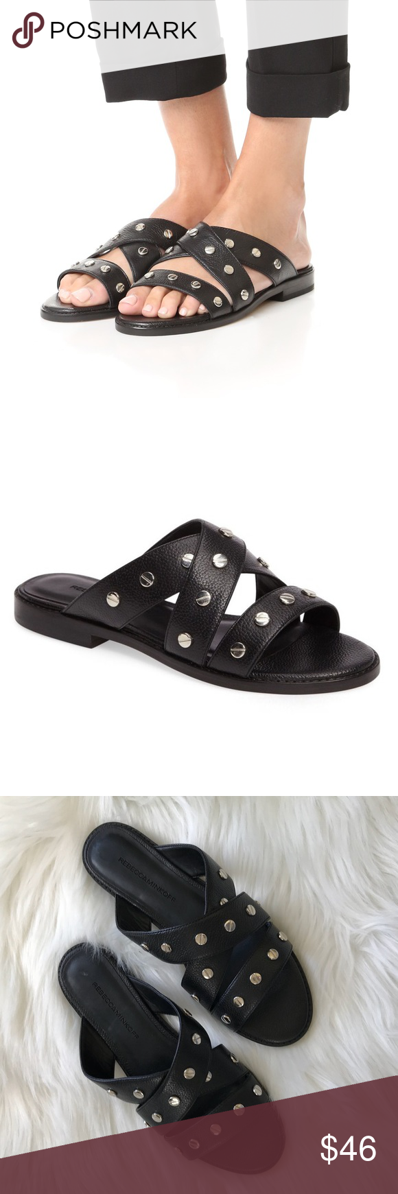 Rebecca Minkoff Studded Slide Sandals w/ Tags looking for online tumblr cheap price buy cheap affordable amazing price for sale sale online shop eusJPszw
