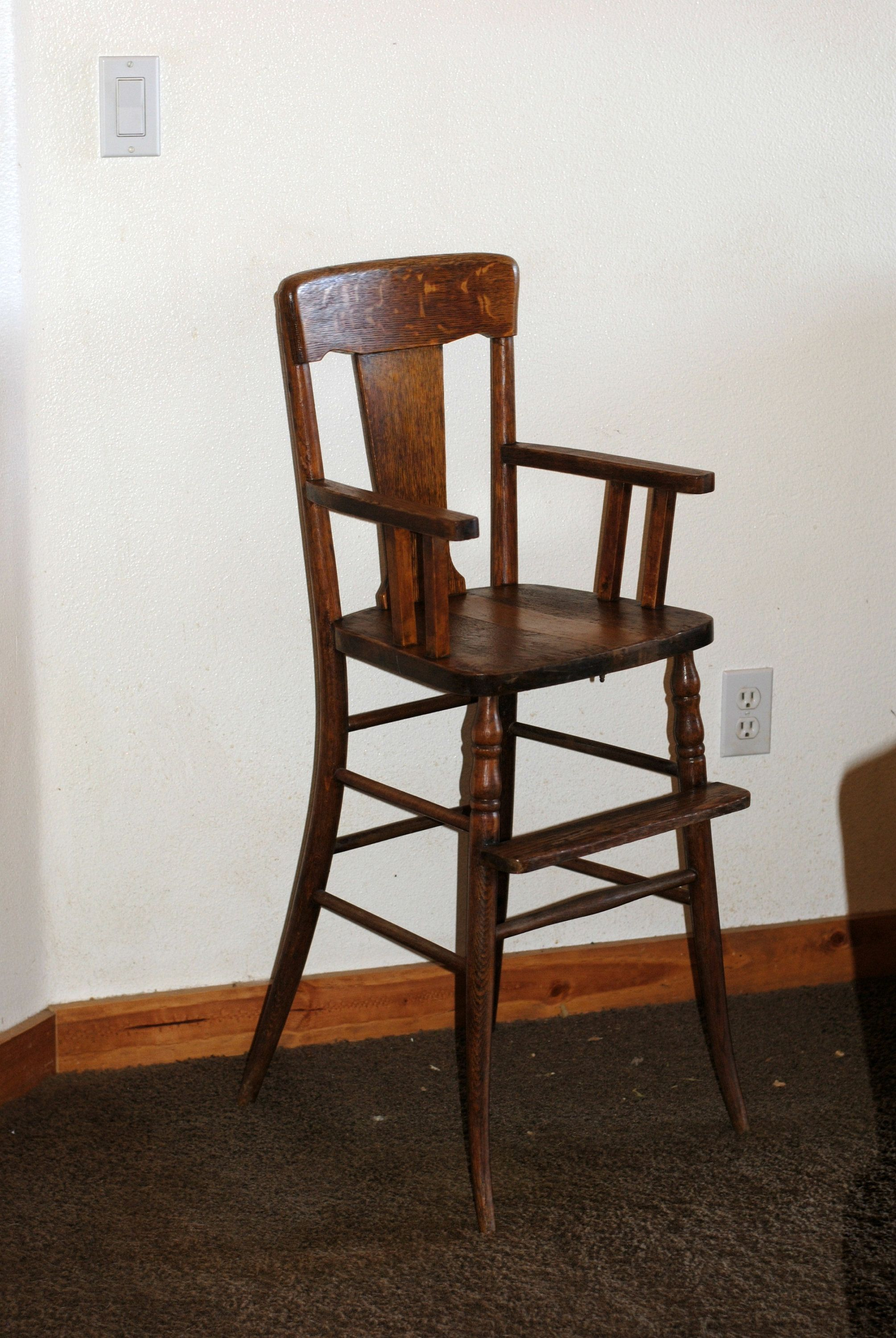 Antique wood high chair 1900 heirloom baby chair solid