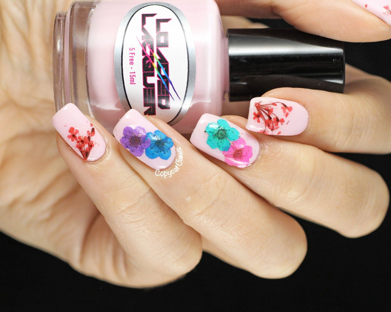 Real Dried Flower Nail Art | Nails | Pinterest | Flower nail art ...