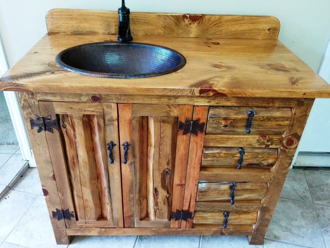 rustic pine bathroom vanities. Rustic Bathroom Vanity - 42 In Wide Copper Sink Hand Cut Old Pine Logs Vanities 1