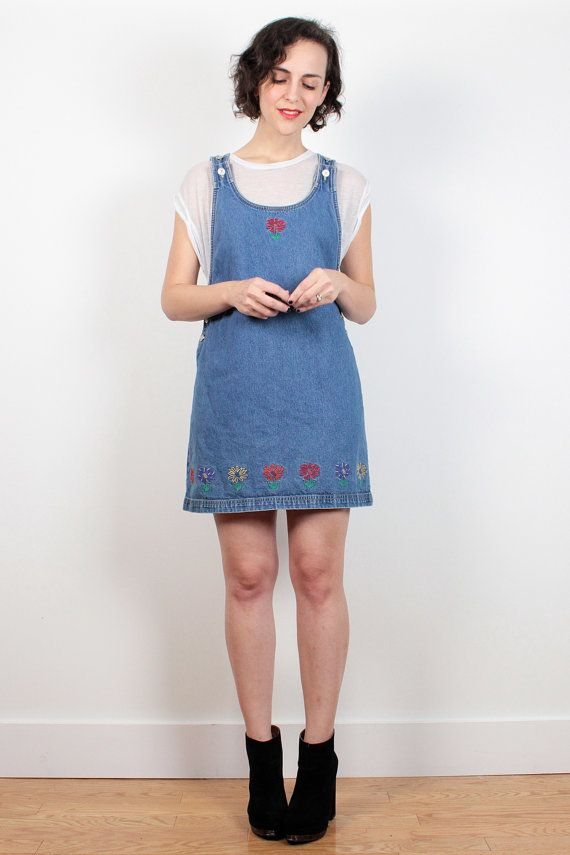 b5cd7f11a11 Vintage Overalls Dress 1990s Dress Blue Denim Daisy Floral Jumper Dress 90s  Dress Mini Dress Blue