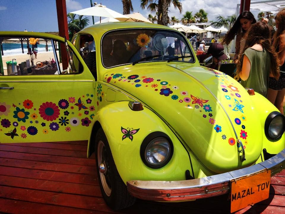 Funky Hippy Colourful Vw Beetle Flower Car Stickers Decals By