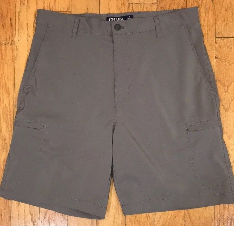 02428cb31c Chaps Golf Gray Cargo Shorts Flat Front Polyester Blend Men's Size 34 | eBay
