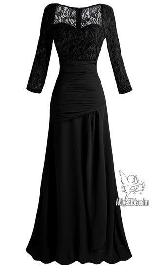 Uzun Abiye Elbise Siyah Dantel Bayan Elbise Online Elbise Ucuz Elbise Elbise Satin Al Moda Stilleri Aksamustu Giysileri Elbise