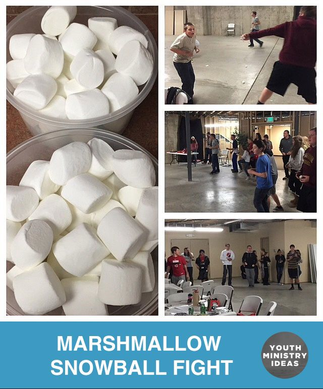 Indoor snowball fight with giant marshmallows  Youth