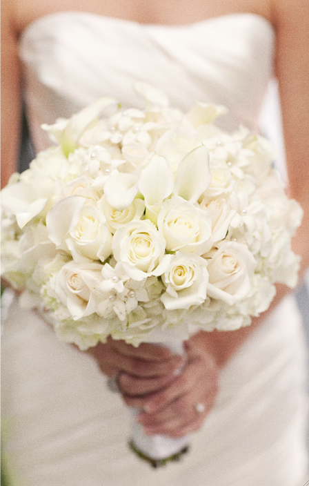 White Roses Stephanotis Calla Lily And Hydrangea Bouquet The