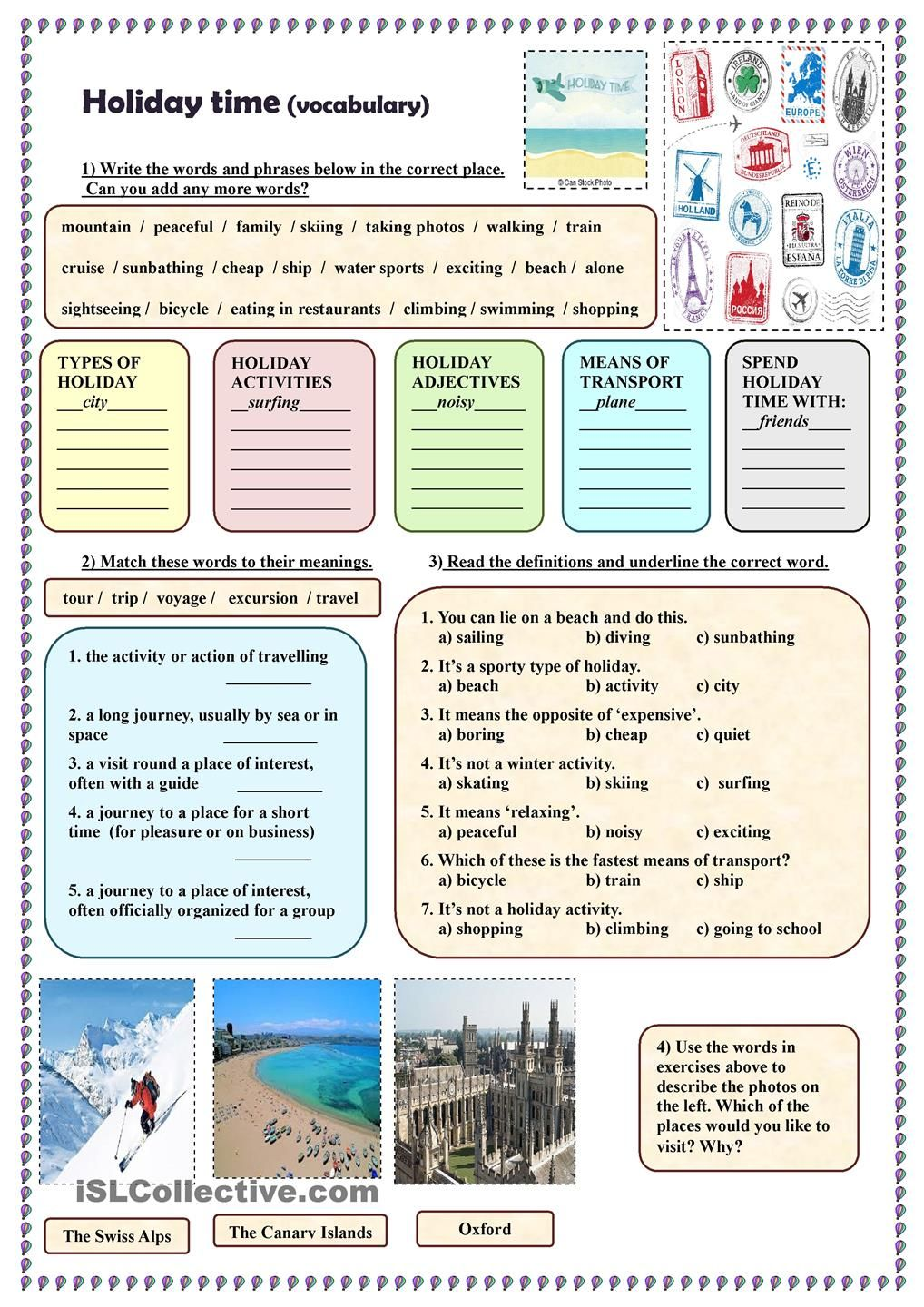 Holiday time (vocabulary) | English worksheets | Pinterest ...