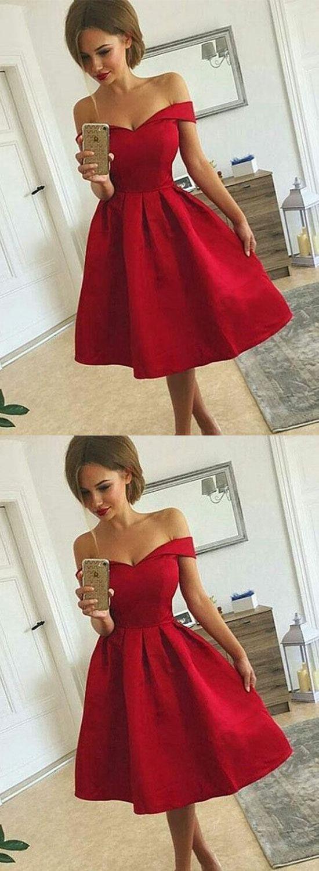 Cute a line off shoulder short prom dressfashion homecoming dress