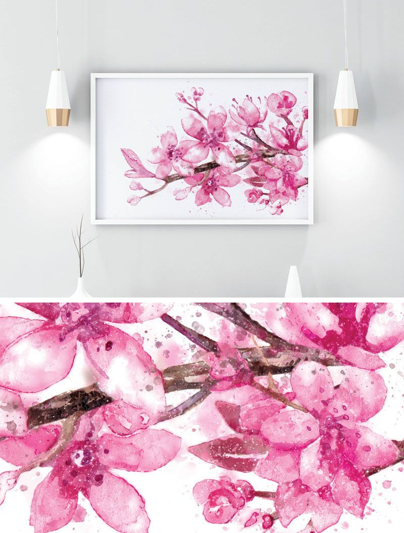 25 Ideas For Including Cherry Blossom Wall Art In Your Home Cherry Blossom Wall Art Cherry Blossom Decor Cherry Blossom Watercolor