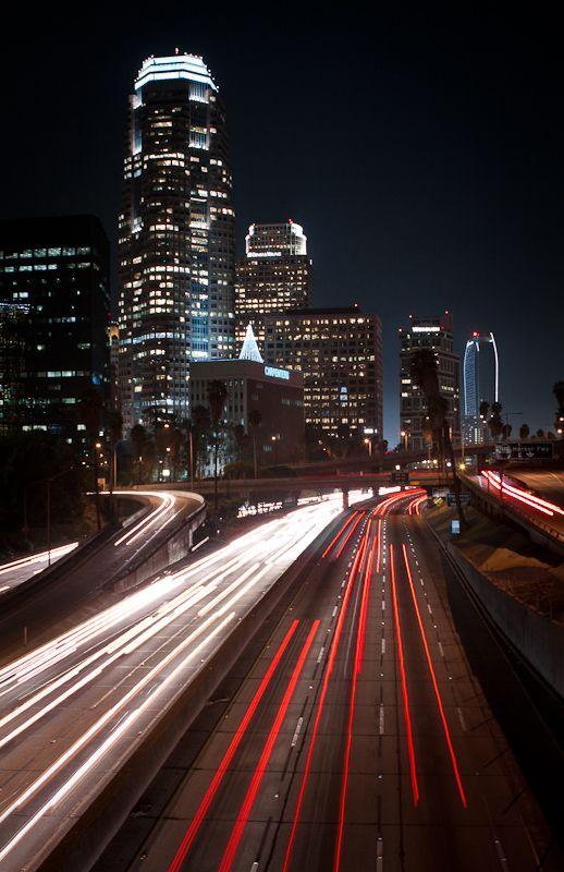 La Traffic A Photo From California West Trekearth Night Cityscape Los Angeles Art Los Angeles Hollywood