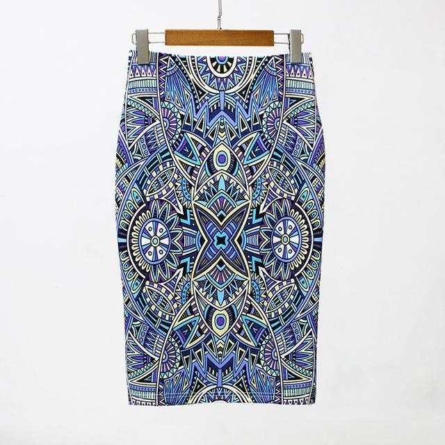 2019 Summer Print Midi Skirt Women Pencil Skirt Geometric Print High Waist Skirt Split Slim Elegant OL Bodycon Midi Skirt Female