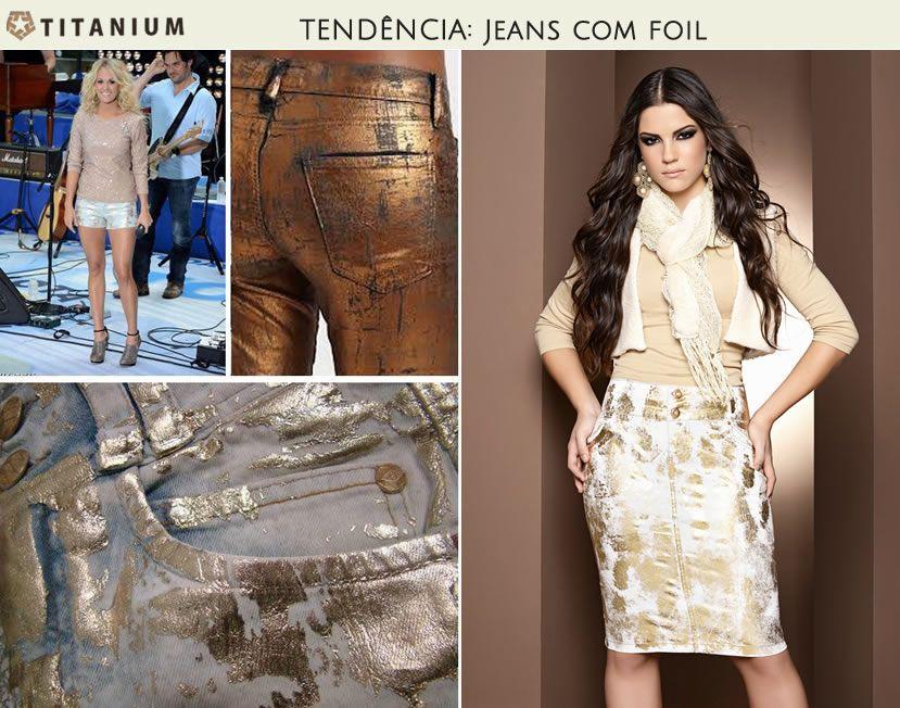 O jeans com foil é uma das apostas para esse inverno 2013. Em sua nova coleção, a Titanium Jeans trouxe o foil, dando um toque moderno e elegante em suas saias. Confira;