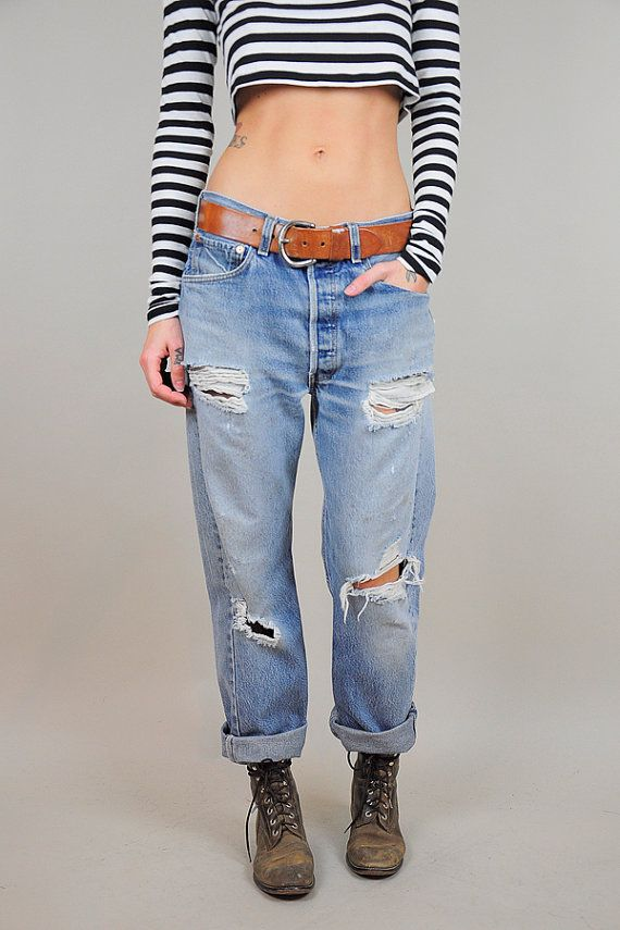 vtg LEVI'S 501 boyfriend jeans 80's DESTROYED relaxed denim worn ...