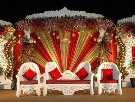 grand red and golden stage decoration - Decoration For Wedding