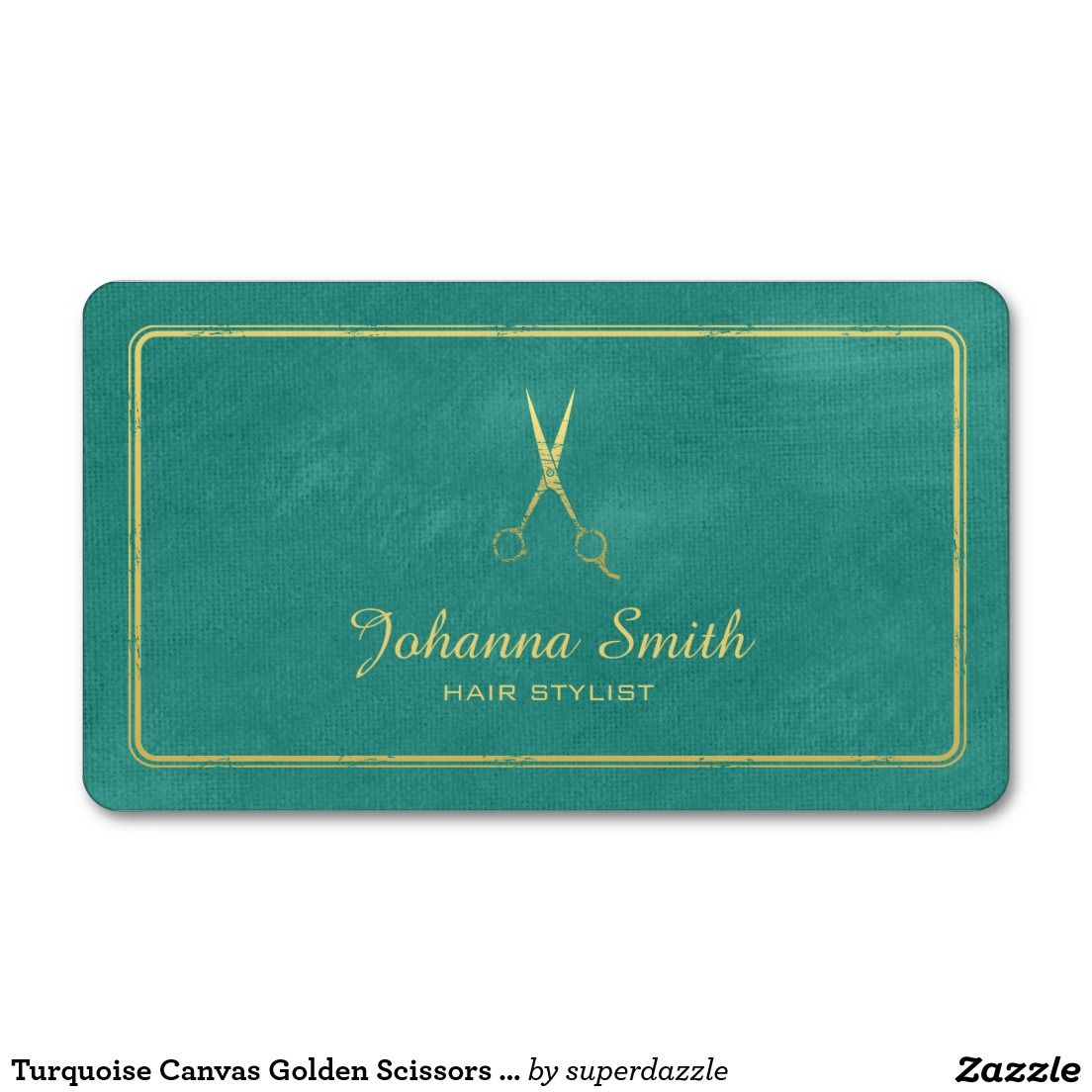 Turquoise Canvas Golden Scissors Hairstylist Business Card - Hair stylist business card template