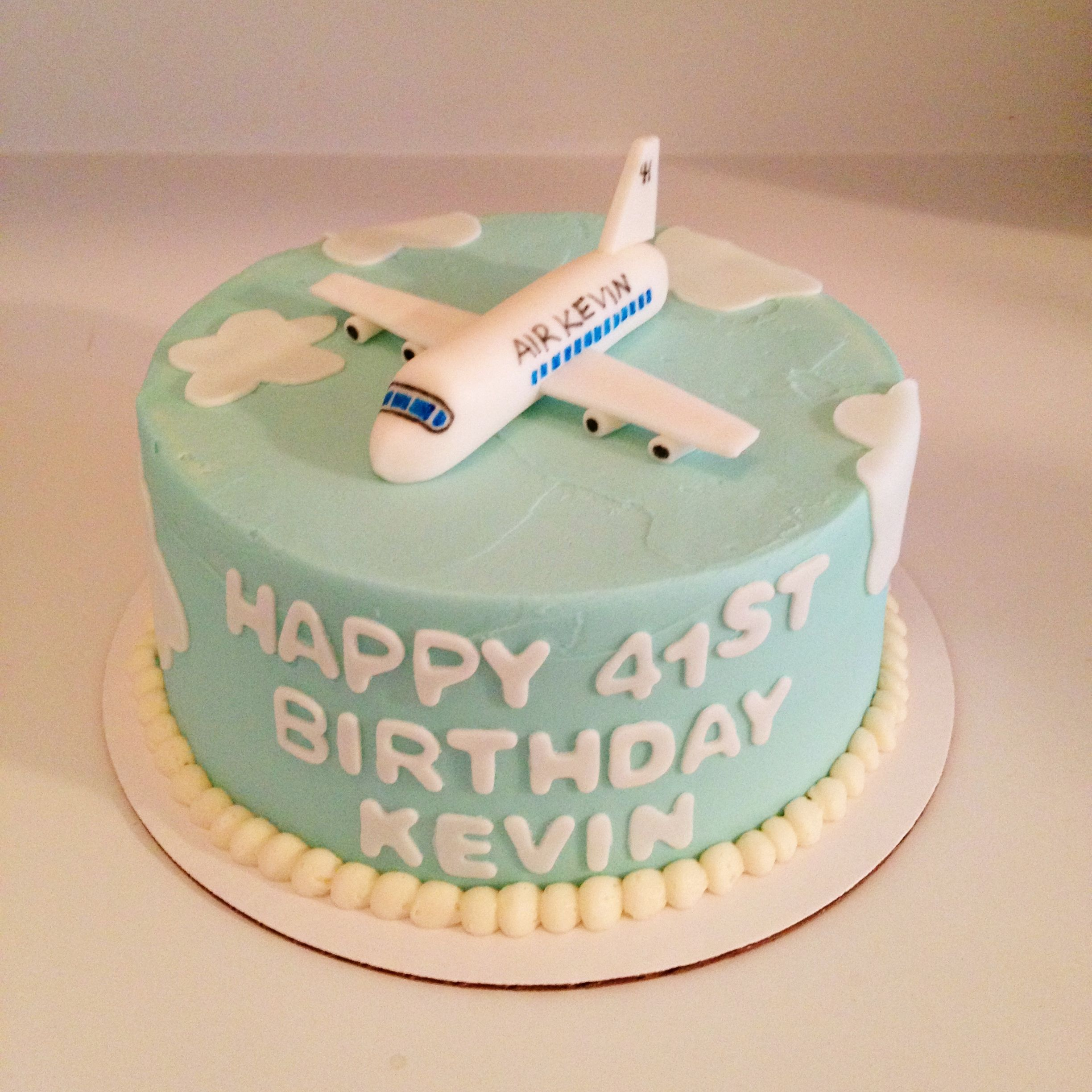 Pilot S Birthday Cake With Fondant Airplane On Top Sweets By Millie
