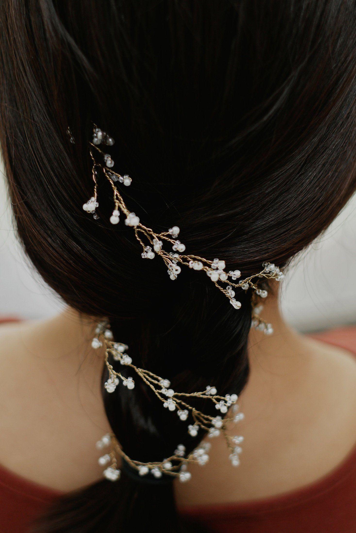 Dainty Wedding Hair Vine Bridal Wire Hair Halo Pearl Hair Vine