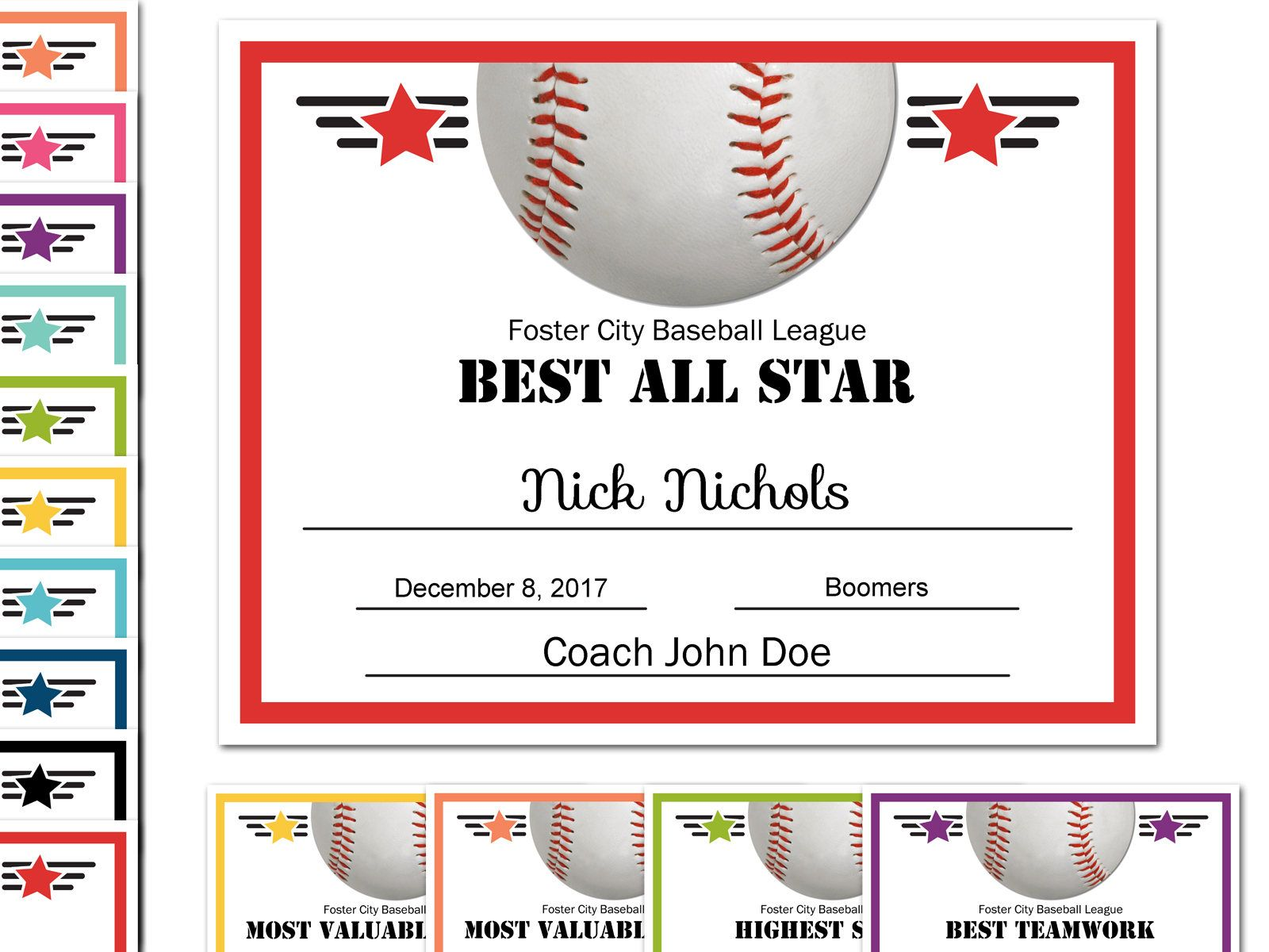 Editable pdf sports team baseball certificate award template in 10 editable pdf sports team baseball certificate award template in 10 colors letter size instant download yadclub Gallery