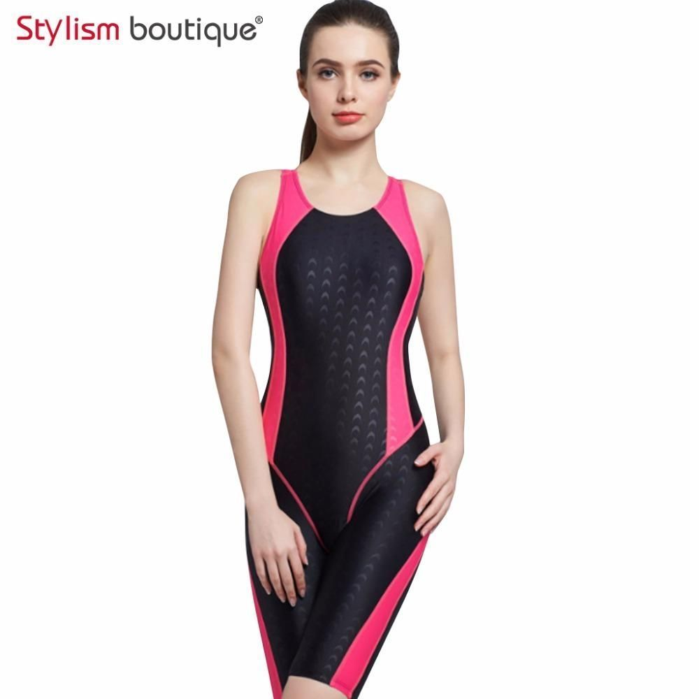 a9b7b3d5bfc18 Women Neck to Knee Competition Swimsuit Racing Suit One Piece Bathing suits  One-piece Swimwear