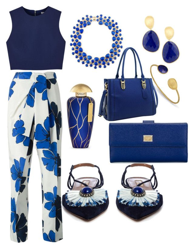 """""""Two-Toned Blue Work-Wear"""" by kpoulin1217 on Polyvore featuring Marco Bicego, Alice + Olivia, Chloé, Aquazzura, The Merchant Of Venice, Dasein and Dolce&Gabbana"""
