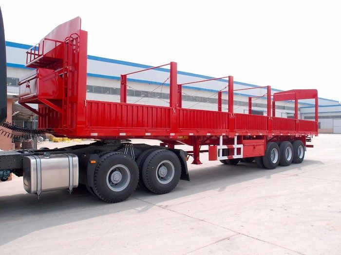 Multi Function 3 Axles Flatbed Side Wall Fence Cargo Semi Trailer Semi Trailer Side Wall Fence