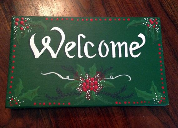 Christmas Welcome Sign. Handpainted Art. Christmas by SignCreation