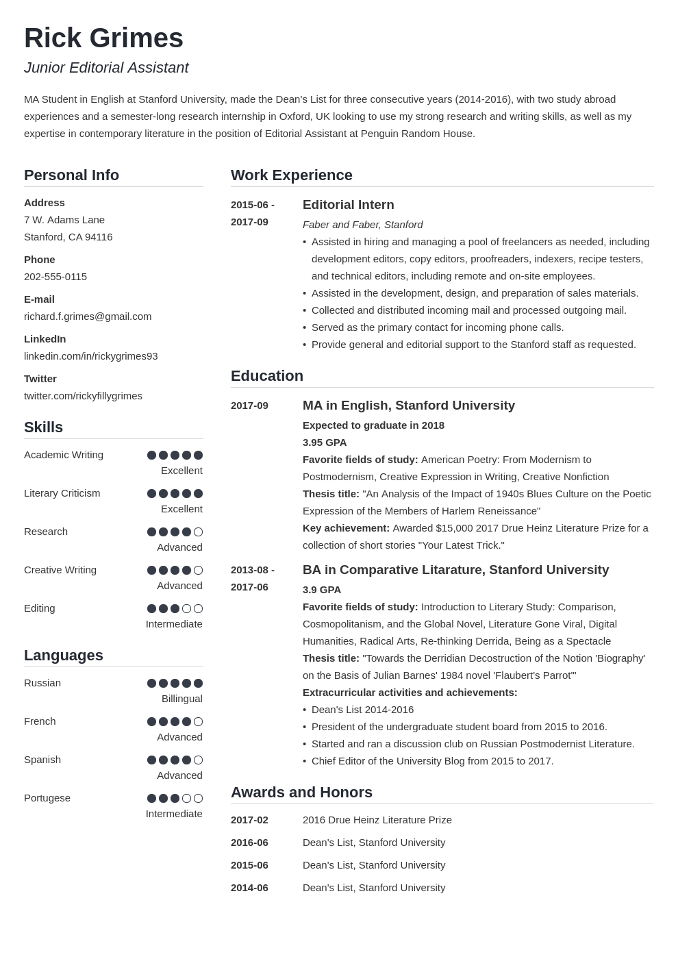 Cv Resume Examples Student