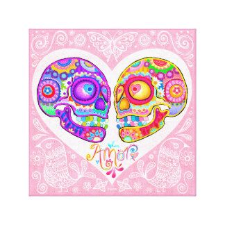 Sugar Skull Couple Art Canvas Print