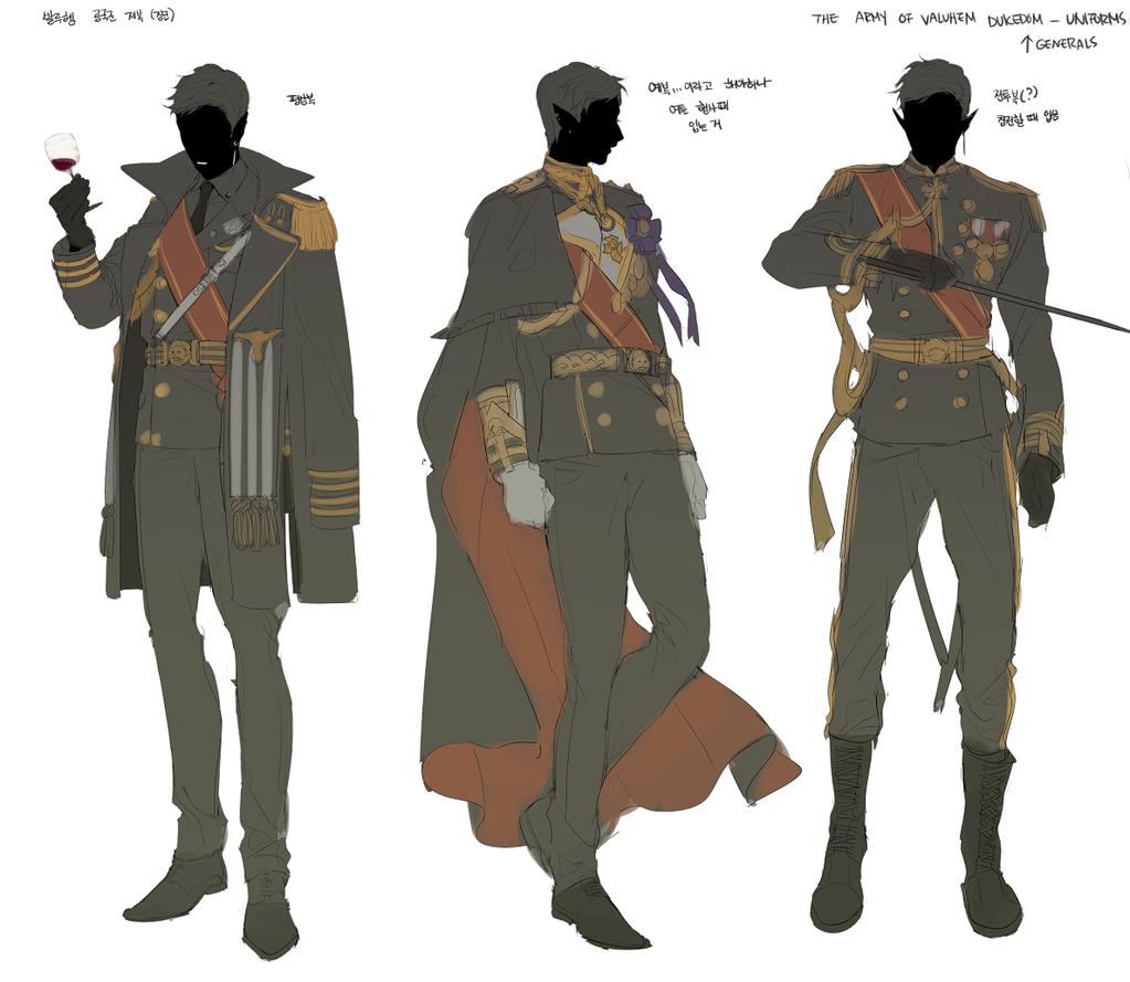 Character Design Artist Hire : 공국군 장군들이 입는 제복 디쟈인 스케치 ^ ^여자들도 치마착용 가능한 점만 빼면 똑같은 디자인