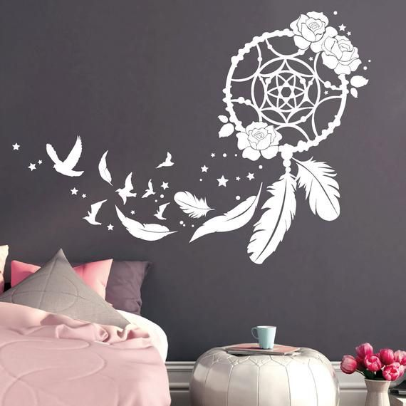Wandtattoo Schablone Schlafzimmer Wall Tattoo Dream Catcher With Roses Birds And Feathers ...