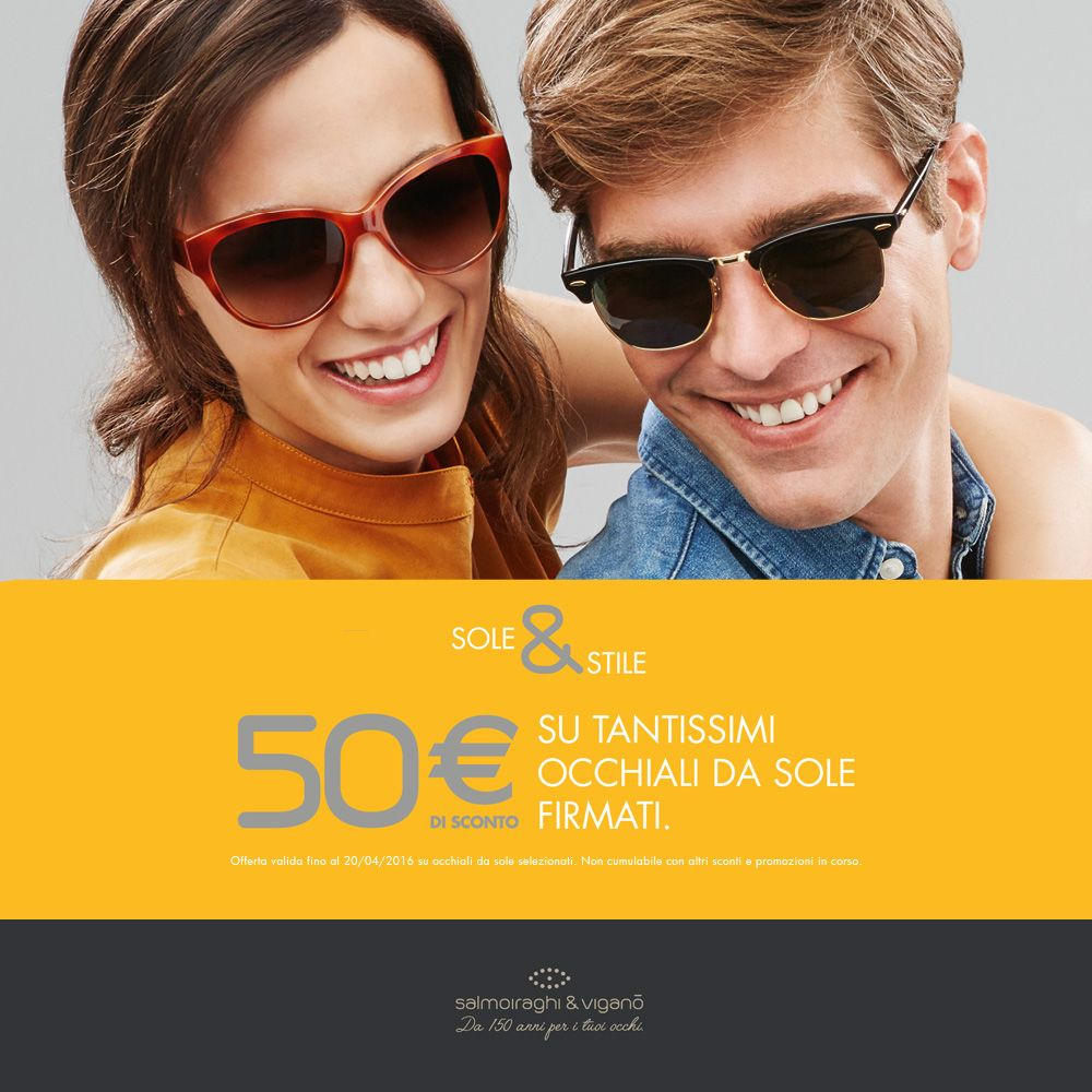 """Nei nostri negozi prosegue la promo """"SOLE & STILE"""": prezzi scontati su tantissimi modelli di occhiali da sole firmati. Info > http://bit.ly/21UNnU6 #occhi #eyes #vedercibene #occhiali #glasses #occhialidasole #sunglasses #occhisani #fashion #style #salmoiraghieviganò #150salmoiraghi"""