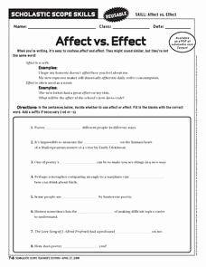 Affect Vs Effect Worksheet Elegant Affect Vs Effect 6th ...