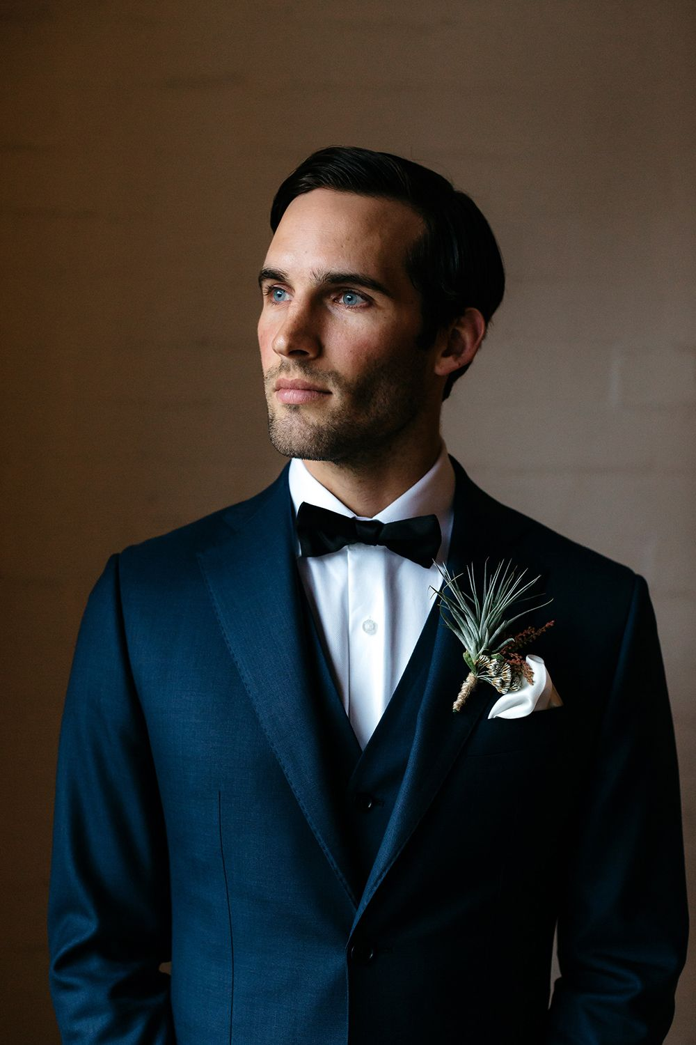 navy blue suits - photo by Katie Harmsworth Photography http://ruffledblog.com/mixed-metals-wedding-inspiration