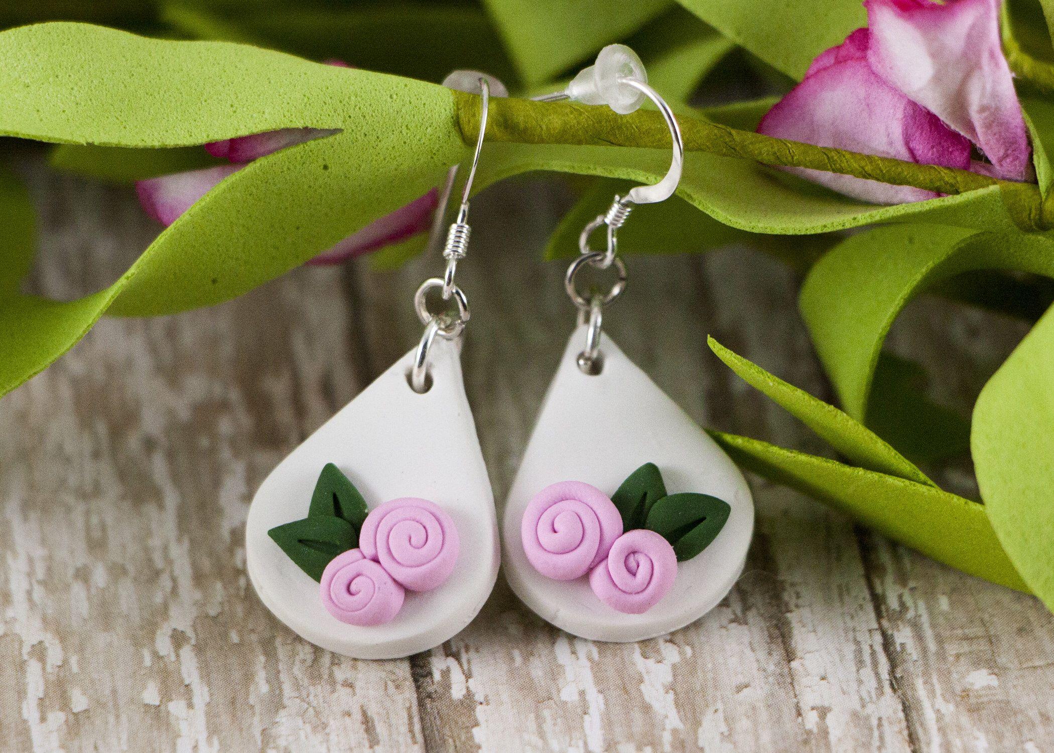 Dangle Earrings Lightweight Earrings Free Shipping Polymer Clay Earrings Spring Earrings Rose Gold Spring Jewelry Easter Jewelry