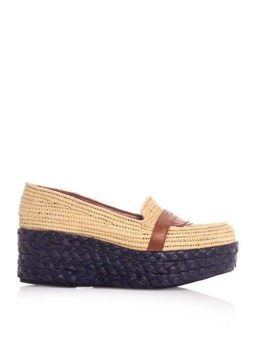 Womens High Heels Robert Clergerie Noko Plaited Raffia Flatform Shoes Heels Outlet Shop
