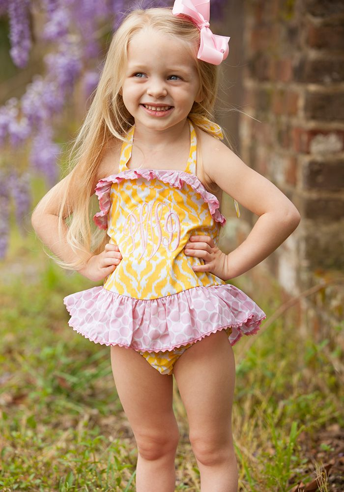 5983ae1d25e45 Lemonade Bathing Suit - Pink and yellow patterned girls swimsuit with  ruffles. Perfect for summer! Can also be monogrammed!
