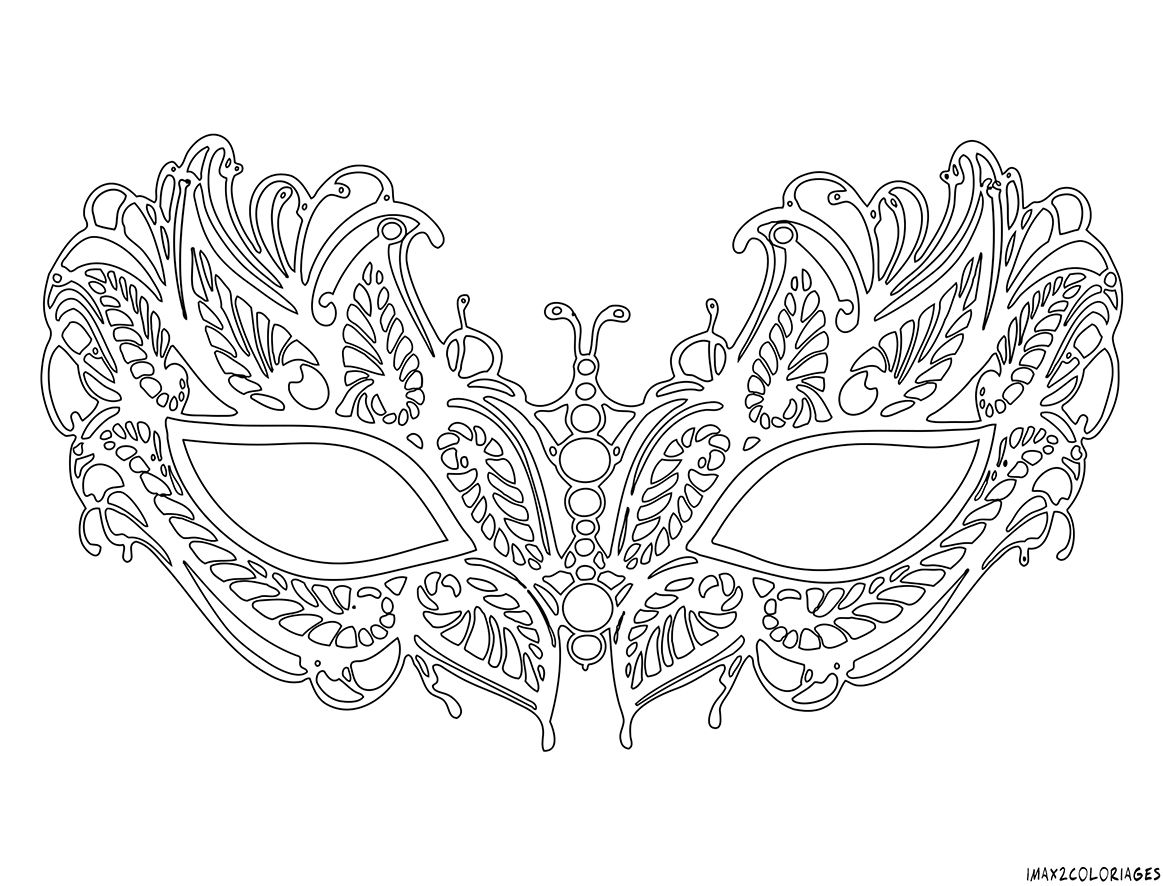 Coloriage masque v nitien lafayette grande image coloring mask drawing mask template et - Coloriage masque ...