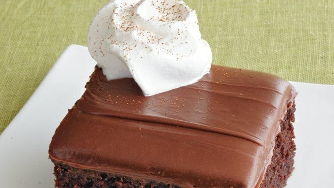 Chocolate Sheet Cake Enjoy this irresistibly rich and creamy chocolate cake served with whipped topping – a perfect Mexican dessert.Enjoy this irresistibly rich and creamy chocolate cake served with whipped topping – a perfect Mexican dessert.